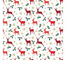Christmas pattern deer red Photographic Print