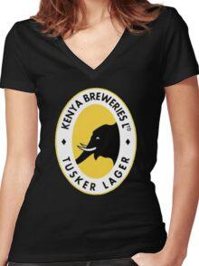 TUSKER LAGER BEER Women's Fitted V-Neck T-Shirt