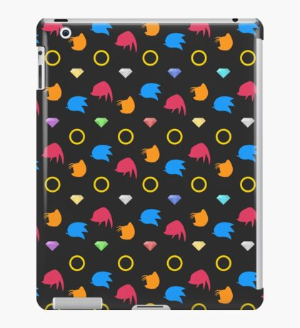 Sonic, Knuckles and Tails with Chaos Emeralds (black) iPad Case/Skin