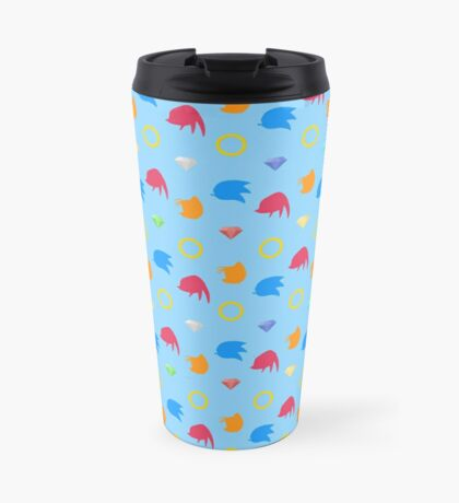 Sonic, Knuckles and Tails with Chaos Emeralds (blue) Travel Mug