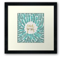 Treat Yo Self – Gold & Turquoise Framed Print