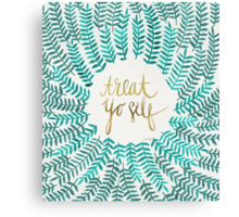 Treat Yo Self – Gold & Turquoise Canvas Print
