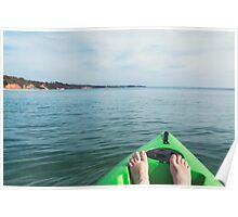 green sea kayak with feet Poster