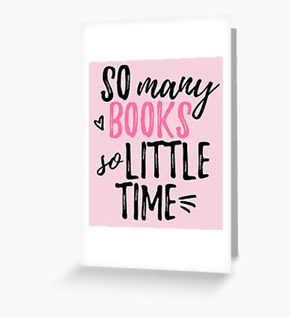 so many books (in pink) Greeting Card