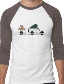 A Graphical Interpretation of the Defender 110 Utility Station Wagon Christmas Edition Men's Baseball ¾ T-Shirt