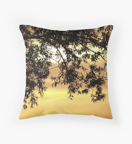 Sunset behind the tree Throw Pillow
