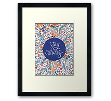 Stay Curious – Navy & Coral Framed Print