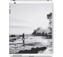 beach sunset with strong summer sunlight in black and white iPad Case/Skin