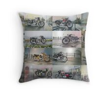 16 Classic British Motorcycles Throw Pillow