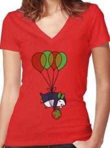 Christmas Balloon Penguin Women's Fitted V-Neck T-Shirt