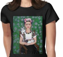 Frida cat lover Womens Fitted T-Shirt