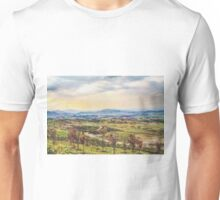 summer sunlight with cloudy sky and rural view Unisex T-Shirt