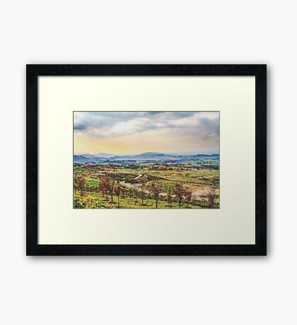 summer sunlight with cloudy sky and rural view Framed Print