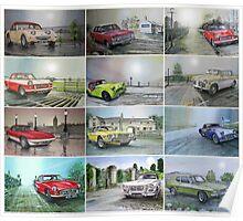 12 Classic British Cars Poster