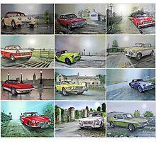 12 Classic British Cars Photographic Print