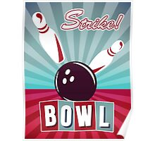 Vintage Bowling Poster Poster