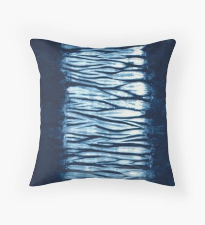Indigo Blue Japanese Shibori Tie Dye Throw Pillow