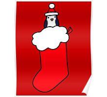 Christmas Stocking Penguin Poster
