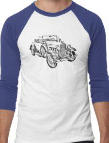1931 Ford Model A Cabriolet Illustration Men's Baseball ¾ T-Shirt
