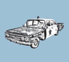 1960 Chevrolet Biscayne Police Car Illustration Kids Tee