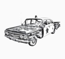 1960 Chevrolet Biscayne Police Car Illustration Kids Clothes