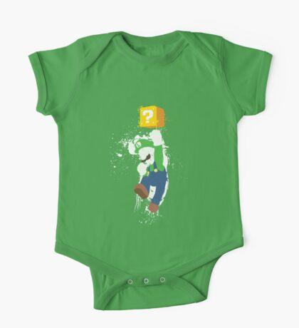 Luigi Paint Splatter Shirt One Piece - Short Sleeve