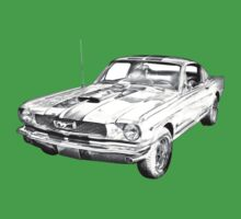 1966 Ford Mustang Fastback Illustration One Piece - Short Sleeve