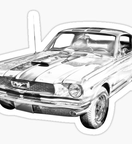 1966 Ford Mustang Fastback Illustration Sticker