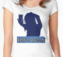 Funny Unique and Cool Blue and Gold Selfie Queen T-shirt Women's Fitted Scoop T-Shirt