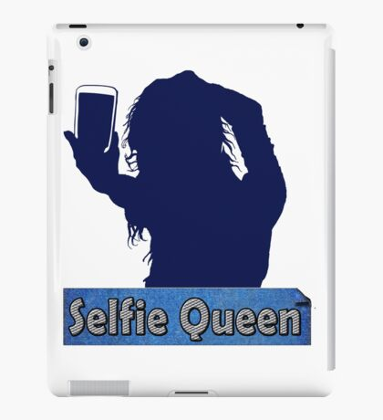 Funny Unique and Cool Blue and Gold Selfie Queen T-shirt iPad Case/Skin