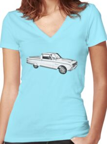 1962 Ford Falcon Pickup Truck Illustration Women's Fitted V-Neck T-Shirt