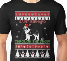 Merry Christmas - Saint Bernard Through The Snow Unisex T-Shirt