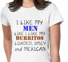 I LIKE MY MEN LIKE I LIKE MY BURRITOS Womens Fitted T-Shirt