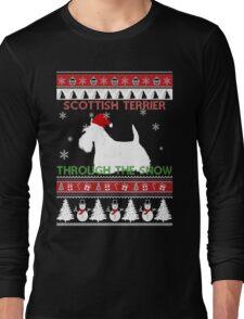 Merry Christmas - Scottish Terrier Through The Snow Long Sleeve T-Shirt