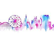 California Magic Theme Park Watercolor Skyline Silhouette by tachadesigns