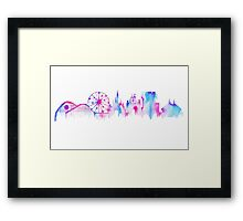 California Magic Theme Park Watercolor Skyline Silhouette Framed Print