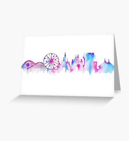 California Magic Theme Park Watercolor Skyline Silhouette Greeting Card