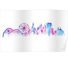 Disneyland California Watercolor Skyline Silhouette Illustration Poster