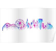 California Magic Theme Park Watercolor Skyline Silhouette Poster