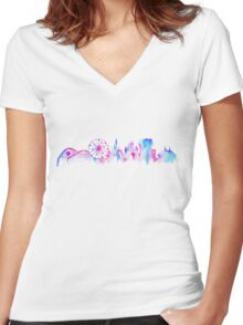 California Magic Theme Park Watercolor Skyline Silhouette Women's Fitted V-Neck T-Shirt