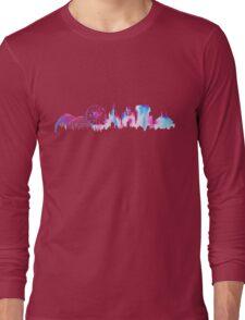 California Magic Theme Park Watercolor Skyline Silhouette Long Sleeve T-Shirt