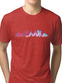 California Magic Theme Park Watercolor Skyline Silhouette Tri-blend T-Shirt