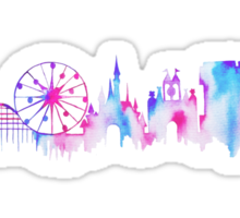Disneyland California Watercolor Skyline Silhouette Illustration Sticker