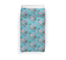 Pretty blue and pink floral print. <3 Duvet Cover