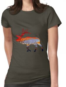 Sunset elk  Womens Fitted T-Shirt