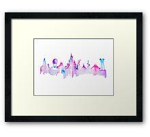 Disneyland Paris Watercolor Skyline Silhouette Framed Print