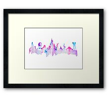 Paris Magic Theme Park Watercolor Skyline Silhouette Framed Print