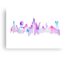 Disneyland Paris Watercolor Skyline Silhouette Metal Print