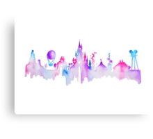 Disneyland Paris Watercolor Skyline Silhouette Canvas Print