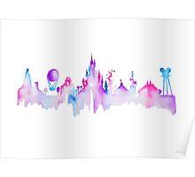 Disneyland Paris Watercolor Skyline Silhouette Poster